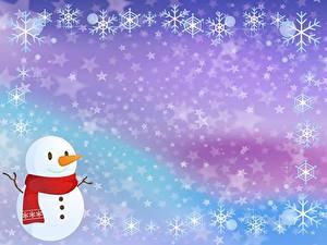 Hintergrundbilder Neujahr Schneeflocken Schneemänner Vorlage Grußkarte