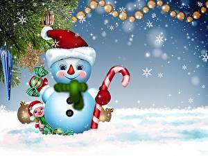 Bilder Neujahr Schneeflocken Schneemänner Mütze Schal