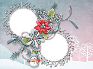 Hintergrundbilder Neujahr Schneemänner Ast Bäume Vorlage Grußkarte