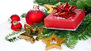 Hintergrundbilder Neujahr Kleine Sterne Kugeln Geschenke Ast