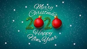 Hintergrundbilder Neujahr Kleine Sterne Kugeln Text Englischer 2020