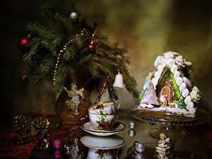 Bilder Neujahr Stillleben Backware Haus Vase Ast Kugeln Zapfen Tasse Design das Essen