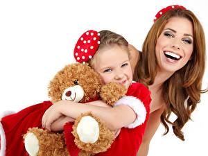 Fotos Neujahr Teddy Weißer hintergrund Kleine Mädchen Glücklich Braune Haare Kinder Mädchens