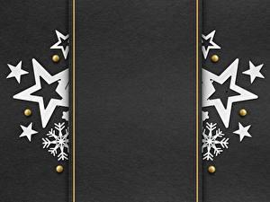 Desktop hintergrundbilder Neujahr Vorlage Grußkarte Kleine Sterne Schneeflocken Grauer Hintergrund