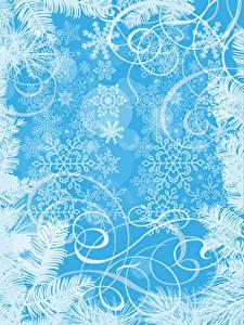 Fotos Neujahr Ornament Schneeflocken Vorlage Grußkarte