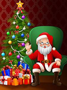 Hintergrundbilder Neujahr Vektorgrafik Sessel Weihnachtsmann Christbaum Geschenke Kugeln Hand