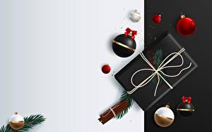 Fotos Neujahr Vektorgrafik Zimt Geschenke Ast Kugeln Vorlage Grußkarte