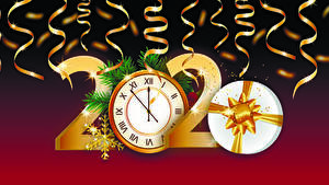 Wallpaper Christmas Vector Graphics Clock 2020 Gifts Snowflakes