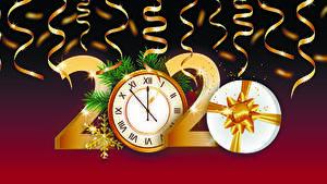 Hintergrundbilder Neujahr Vektorgrafik Uhr 2020 Geschenke Schneeflocken