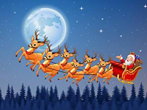 Fotos Neujahr Vektorgrafik Hirsche Schlitten Weihnachtsmann Mond Nacht Flug