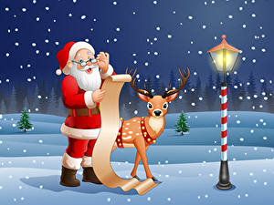 Fotos Neujahr Vektorgrafik Hirsche Straßenlaterne Schnee Weihnachtsmann Uniform Brille Bärtiger Blatt Papier