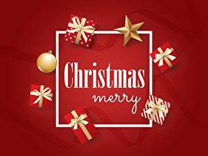 Fotos Neujahr Vektorgrafik Roter Hintergrund Stern-Dekoration Geschenke Text Englischer