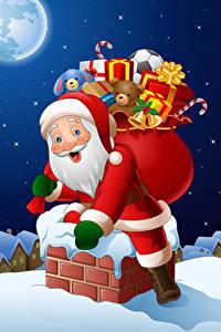 Bilder Neujahr Vektorgrafik Weihnachtsmann Geschenke Uniform Dach