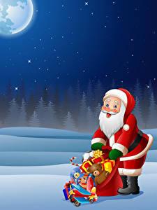 Hintergrundbilder Neujahr Vektorgrafik Weihnachtsmann Uniform Geschenke