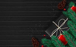 Bilder Neujahr Vektorgrafik Bretter Ast Kugeln Geschenke Zapfen Vorlage Grußkarte