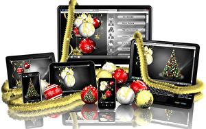 Images Christmas White background Laptops Smartphone Balls Reflection Monitor