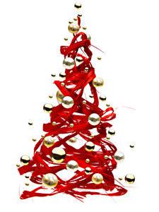 Hintergrundbilder Neujahr Weißer hintergrund Weihnachtsbaum Kugeln