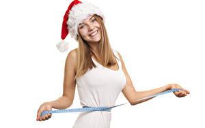 Hintergrundbilder Neujahr Weißer hintergrund Pose Starren Lächeln Hand Mütze Maßband junge frau