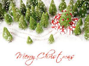 Hintergrundbilder Neujahr Winter Englischer Schnee Fichten Geschenke Wort