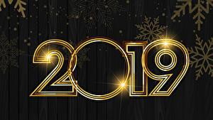 Fotos Neujahr Bretter 2019 Schneeflocken