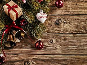Hintergrundbilder Neujahr Bretter Ast Kugeln Geschenke Glocke Herz