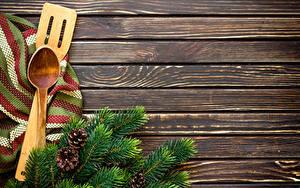 Bilder Neujahr Bretter Ast Zapfen Löffel