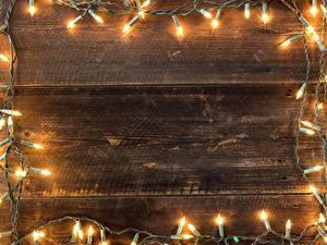 Fotos Neujahr Bretter Lichterkette Vorlage Grußkarte