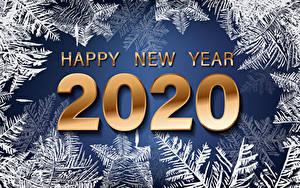 Hintergrundbilder Neujahr Wort Englischer 2020 Schneeflocken