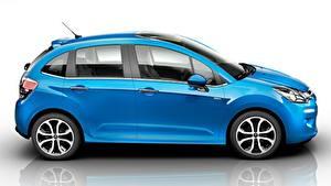 Desktop wallpapers Citroen Reflected Side Blue Hatchback, C3, 2015 automobile