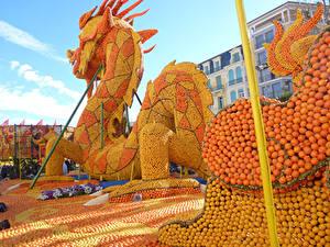 Hintergrundbilder Zitrusfrüchte Drache Design Lemon Festival Menton Natur