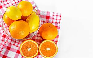 Desktop hintergrundbilder Zitrusfrüchte Zitronen Apfelsine Mandarine Weißer hintergrund das Essen