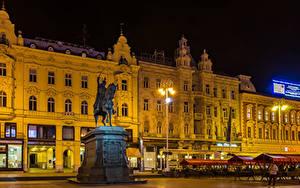 Hintergrundbilder Zagreb Kroatien Gebäude Abend Denkmal Straßenlaterne Städte