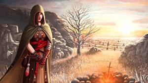 Picture Dark Souls Cloak Brown haired Bonfire 2 Majula Fantasy Girls Games