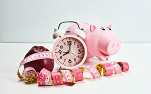 Desktop wallpapers Clock Apples Alarm clock Piggy bank Tape measure Food