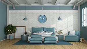 Bakgrundsbilder på skrivbordet Klocka Interiör Sovrum Rum Säng Kudde Väggar Formgivning 3D grafik