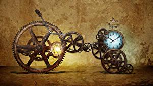 Bakgrundsbilder på skrivbordet Klocka Retro Kugghjul
