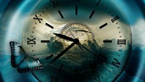Desktop wallpapers Clock Clock face Butterflies Compass Clouds