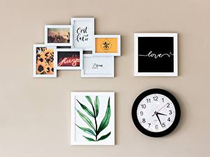 Wallpapers Clock Clock face Pictorial art Walls Colored background