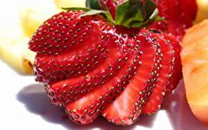 桌面壁纸,,特寫,浆果,草莓,切的食物,食物