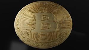 桌面壁纸,,特寫,硬币,貨幣,Bitcoin,金色,
