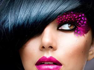 Bilder Großansicht Augen Gesicht Brünette Blick Schminke junge frau