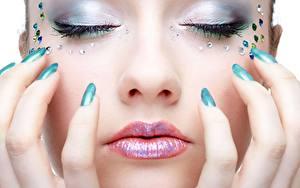 Hintergrundbilder Großansicht Finger Lippe Gesicht Maniküre Make Up junge Frauen