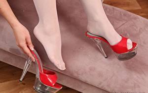 Tapety na pulpit Z bliska Nogi Ręce Buty na obcasie Rajstopy Dziewczyny