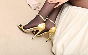 Bilder Großansicht Bein High Heels Strumpfhose Mädchens