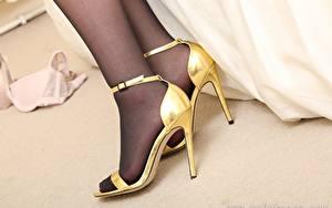 Fotos Großansicht Bein Stöckelschuh Strumpfhose Mädchens