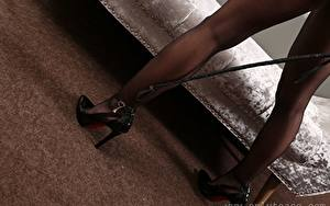 Bureaubladachtergronden Close-up Benen Dames Hakken Een panty jonge vrouw