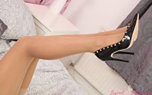 Bilder Nahaufnahme Bein Stöckelschuh Strumpfhose Mädchens