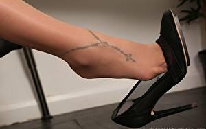 Bilder Großansicht Bein Stöckelschuh Strumpfhose Tätowierung Mädchens