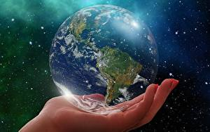 Pictures Closeup Planets Hands Earth Globe South America