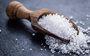 Pictures Closeup Salt Spoon Wooden Food